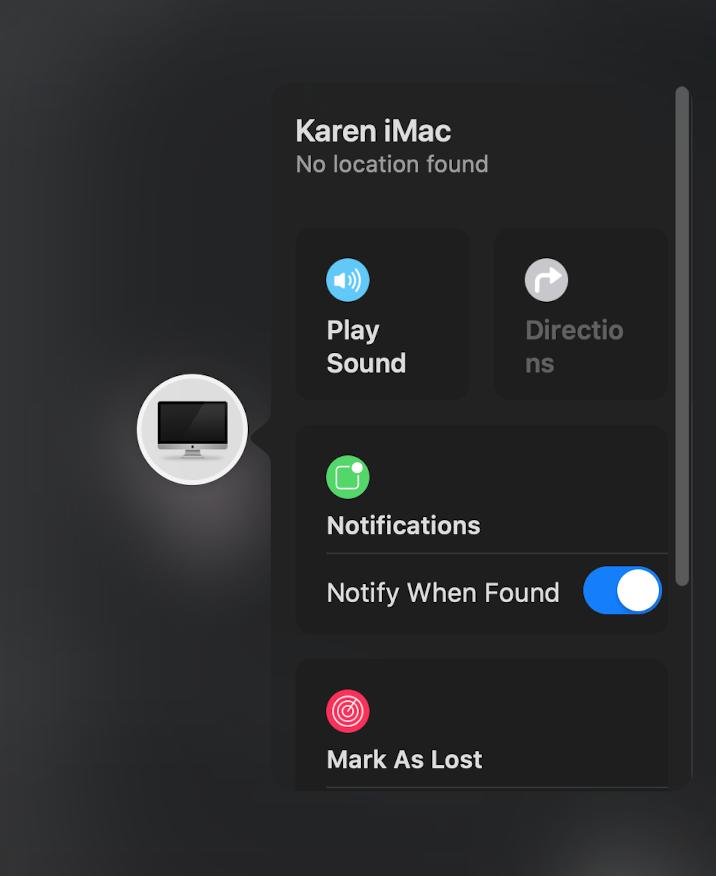 Notificar cuando se encuentre una Mac perdida