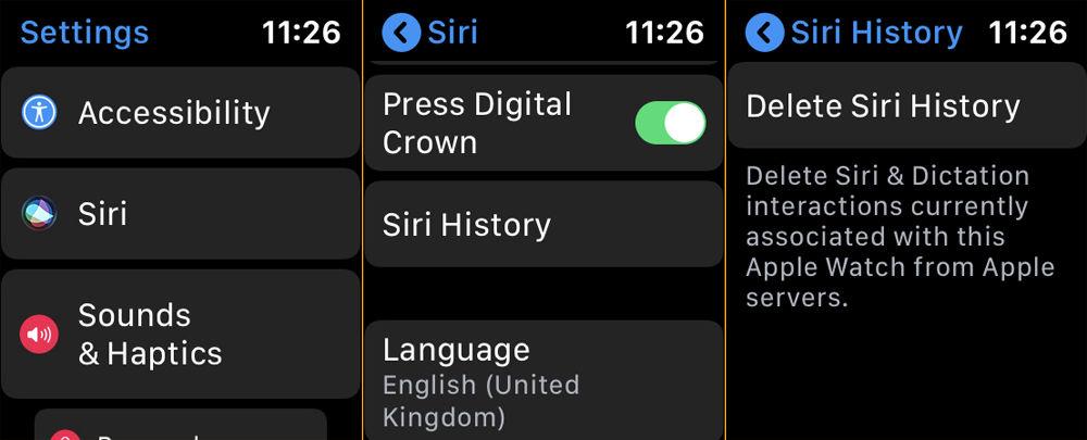 Cómo eliminar el historial y los datos de Siri: Configuración de Apple Watch