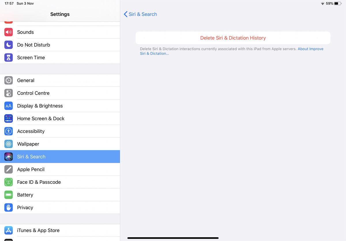 Cómo eliminar el historial y los datos de Siri: Configuración del iPad