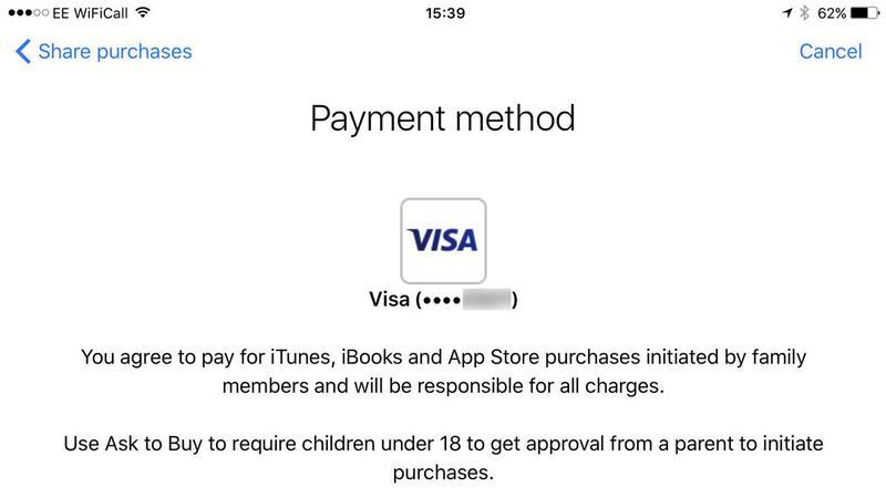 Cómo configurar Family Sharing en iPhone: método de pago