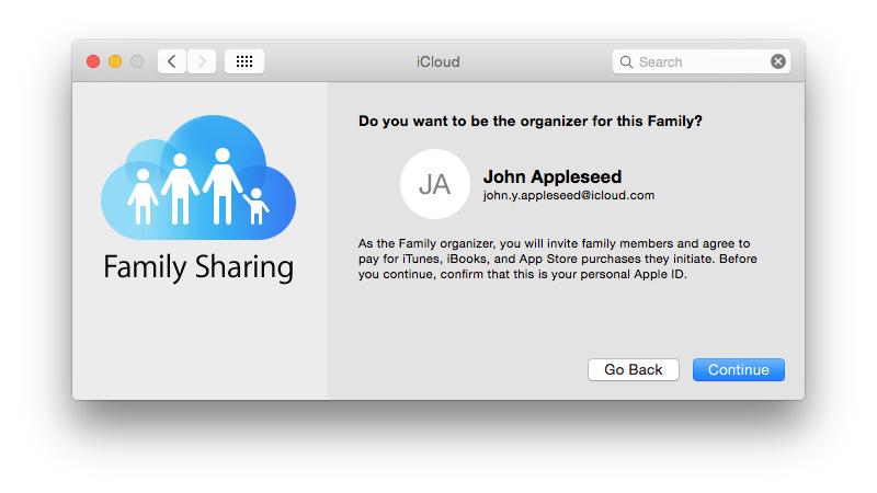 Cómo configurar Compartir en familia: ventana Organizador de Compartir en familia