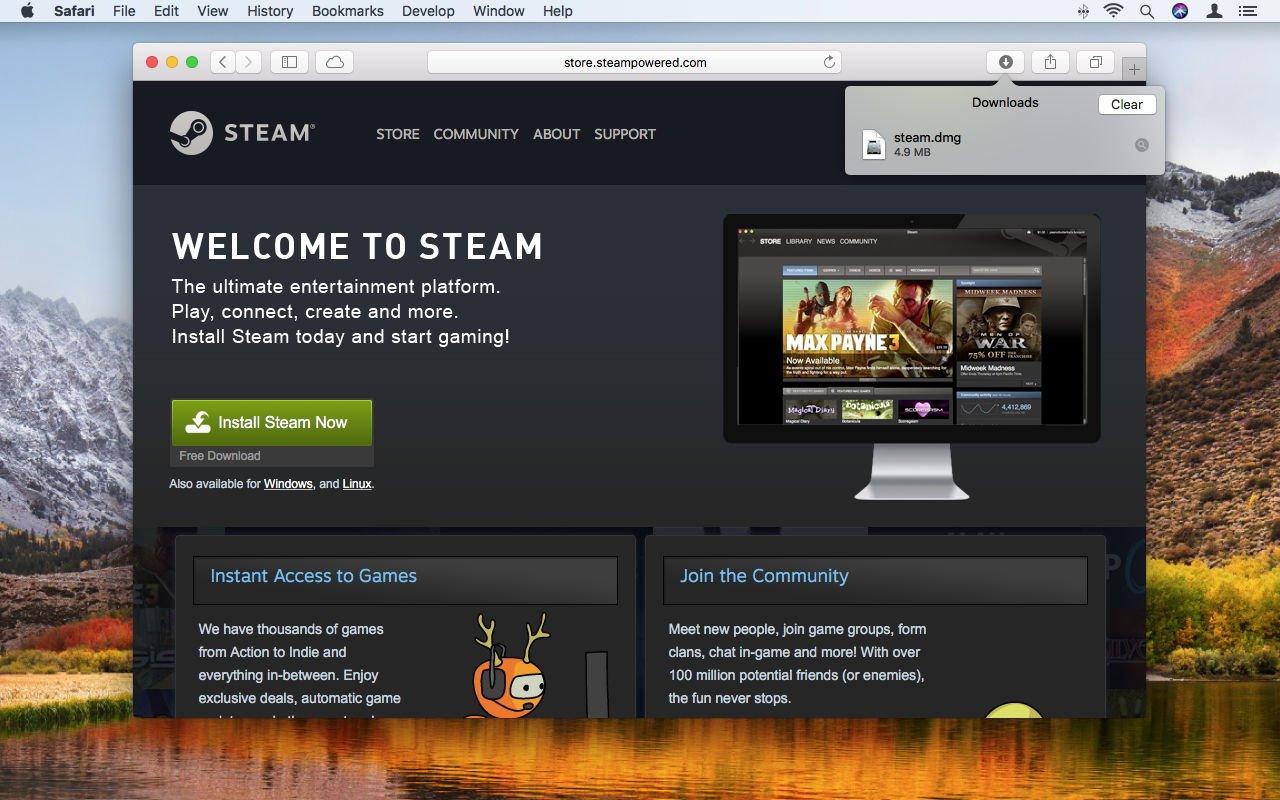 Cómo usar Steam en Mac: botón Descargas