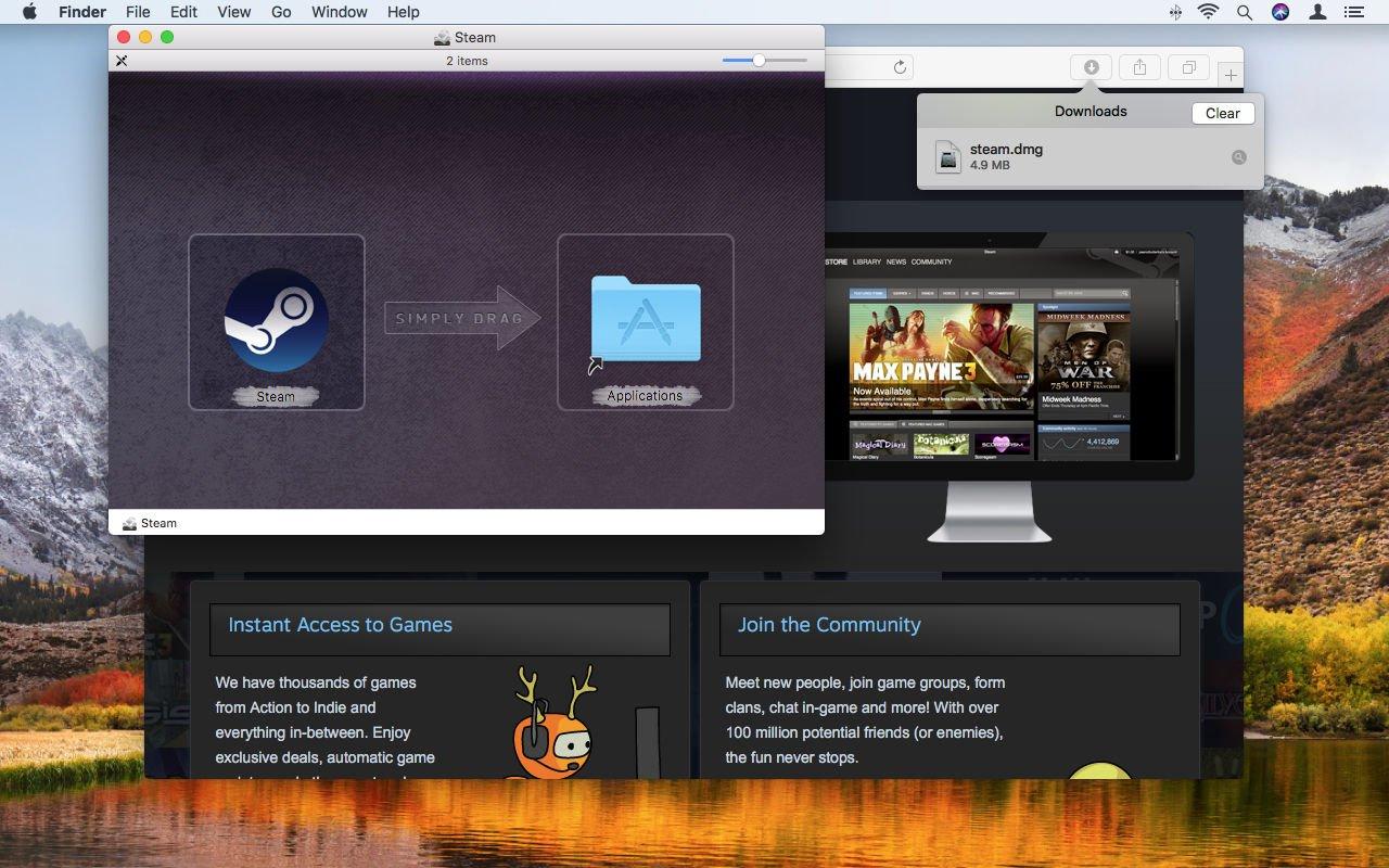 Cómo usar Steam en Mac: icono de arrastrar