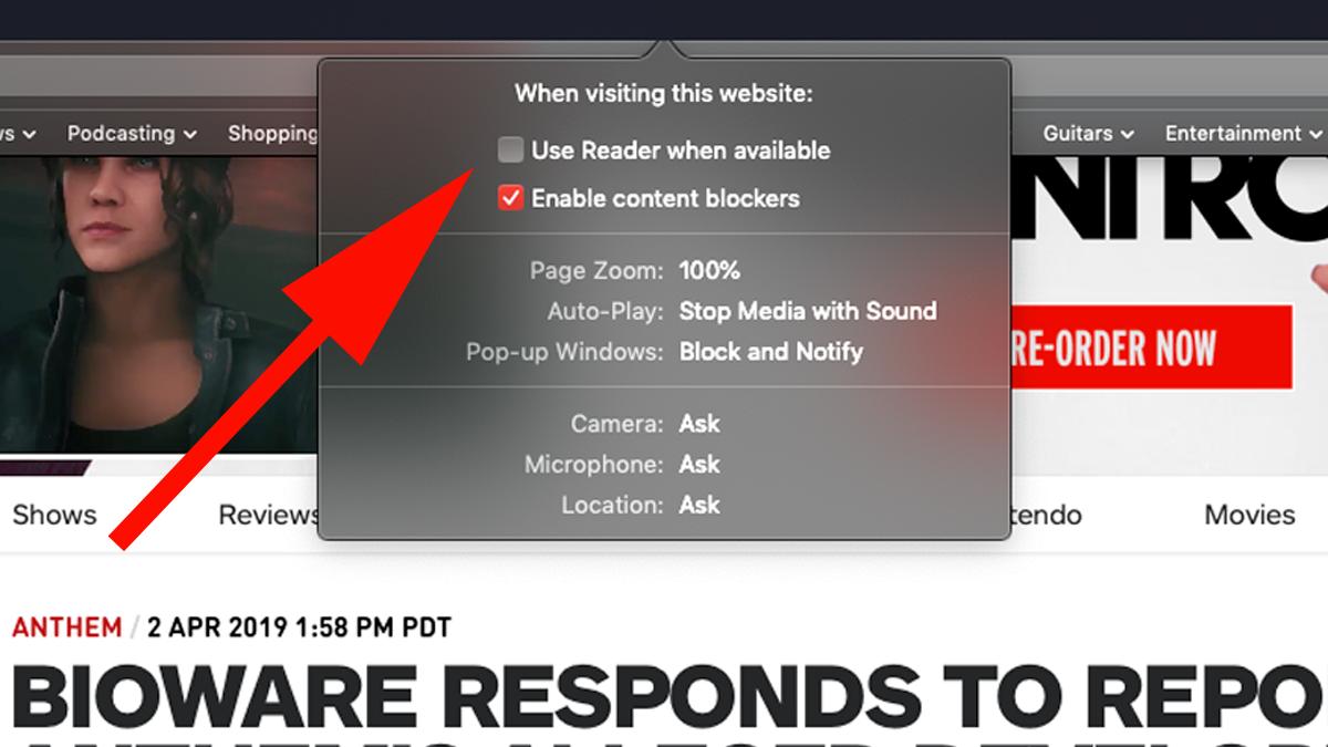 Cómo bloquear anuncios en Mac: use Reader cuando esté disponible