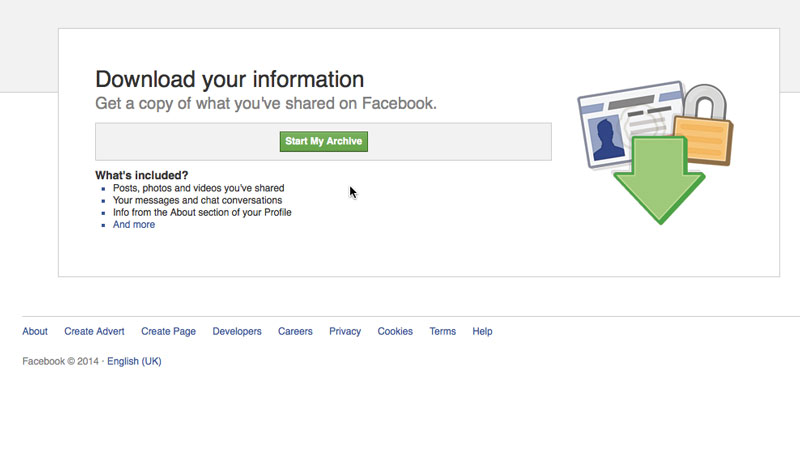 Descargue un archivo de su información de Facebook