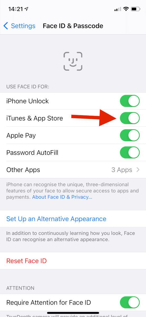 Cómo deshabilitar las compras en la aplicación en iPhone: Habilite Face ID