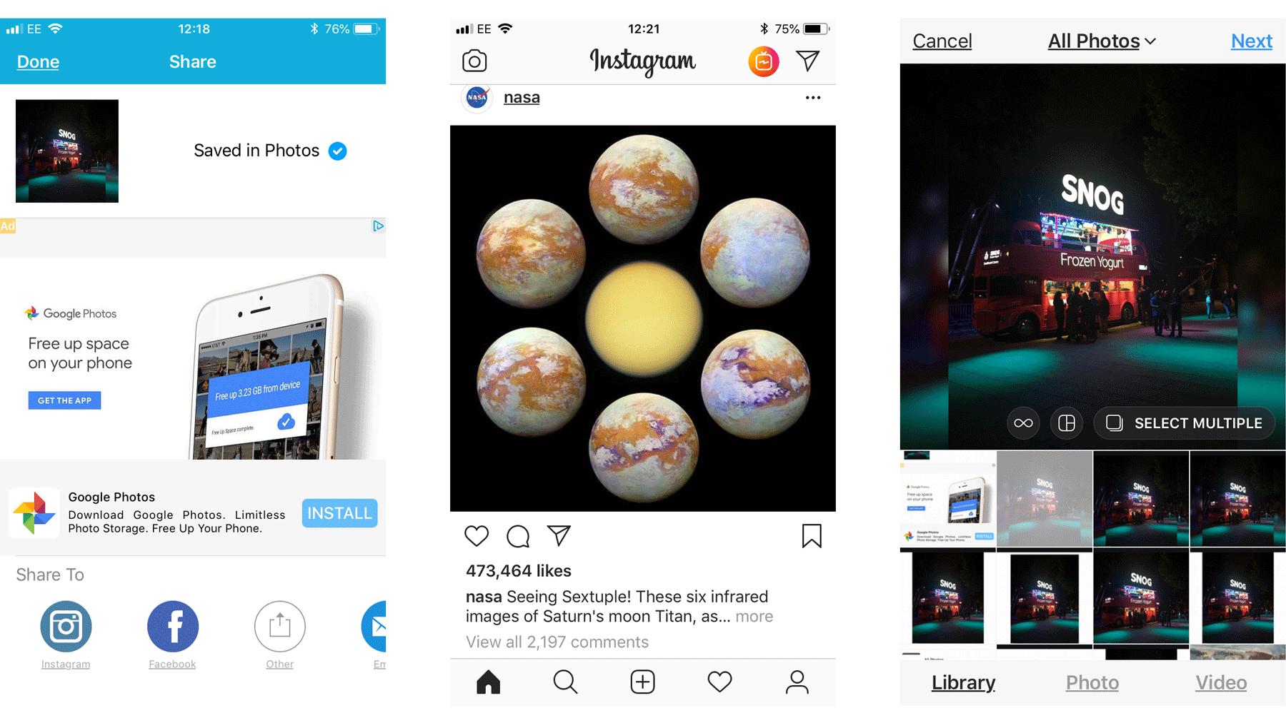 Cómo cargar una foto de tamaño completo en iPhone a Instagram: Guardar