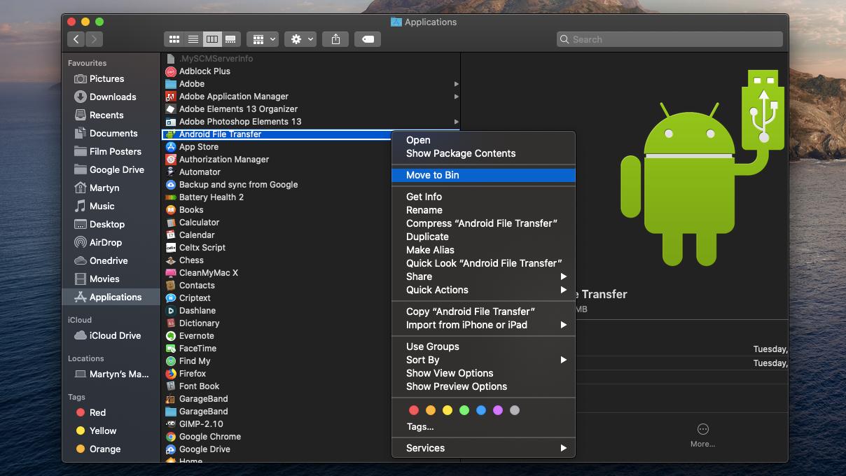 Cómo arreglar Android File Transfer en Mac: reinstalar