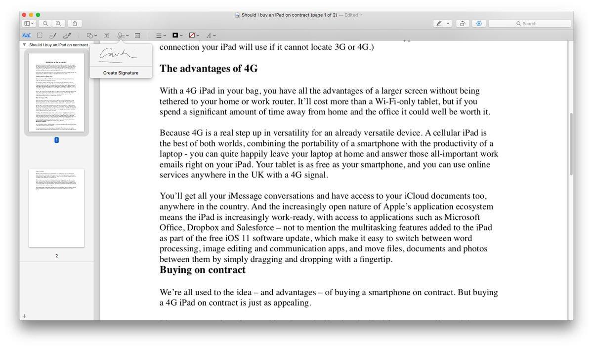 Cómo crear una firma digital en Mac