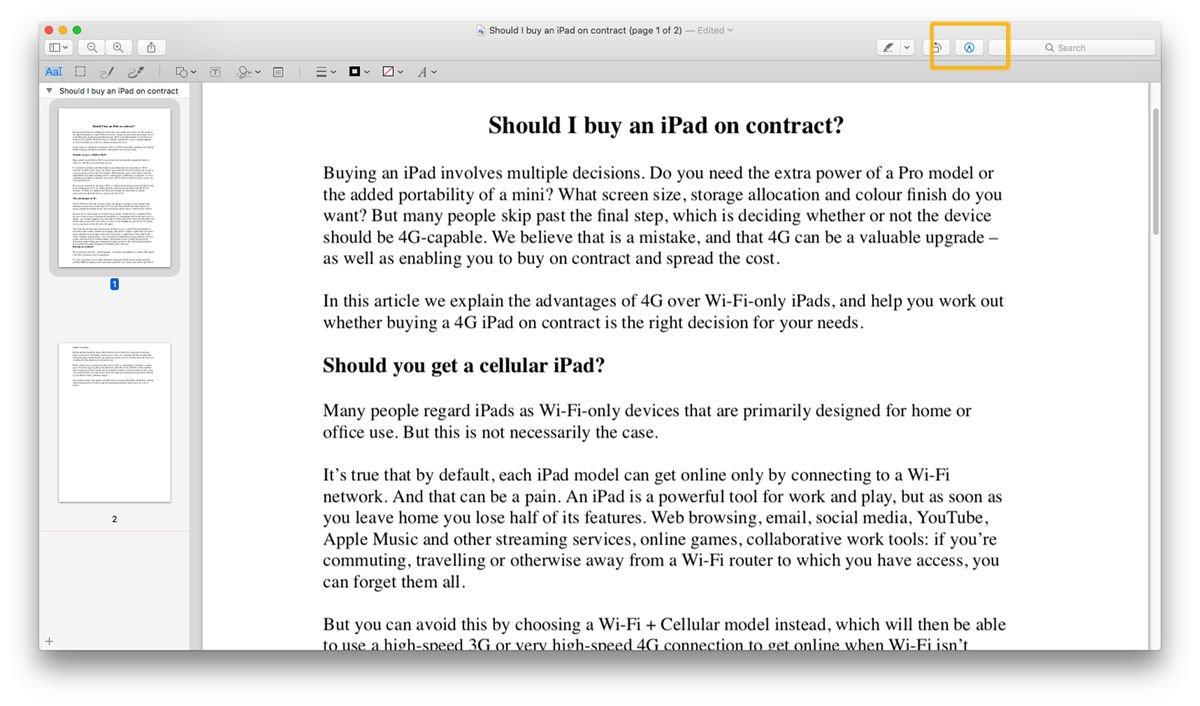 Cómo hacer una firma digital en Mac: Markup Toolbox