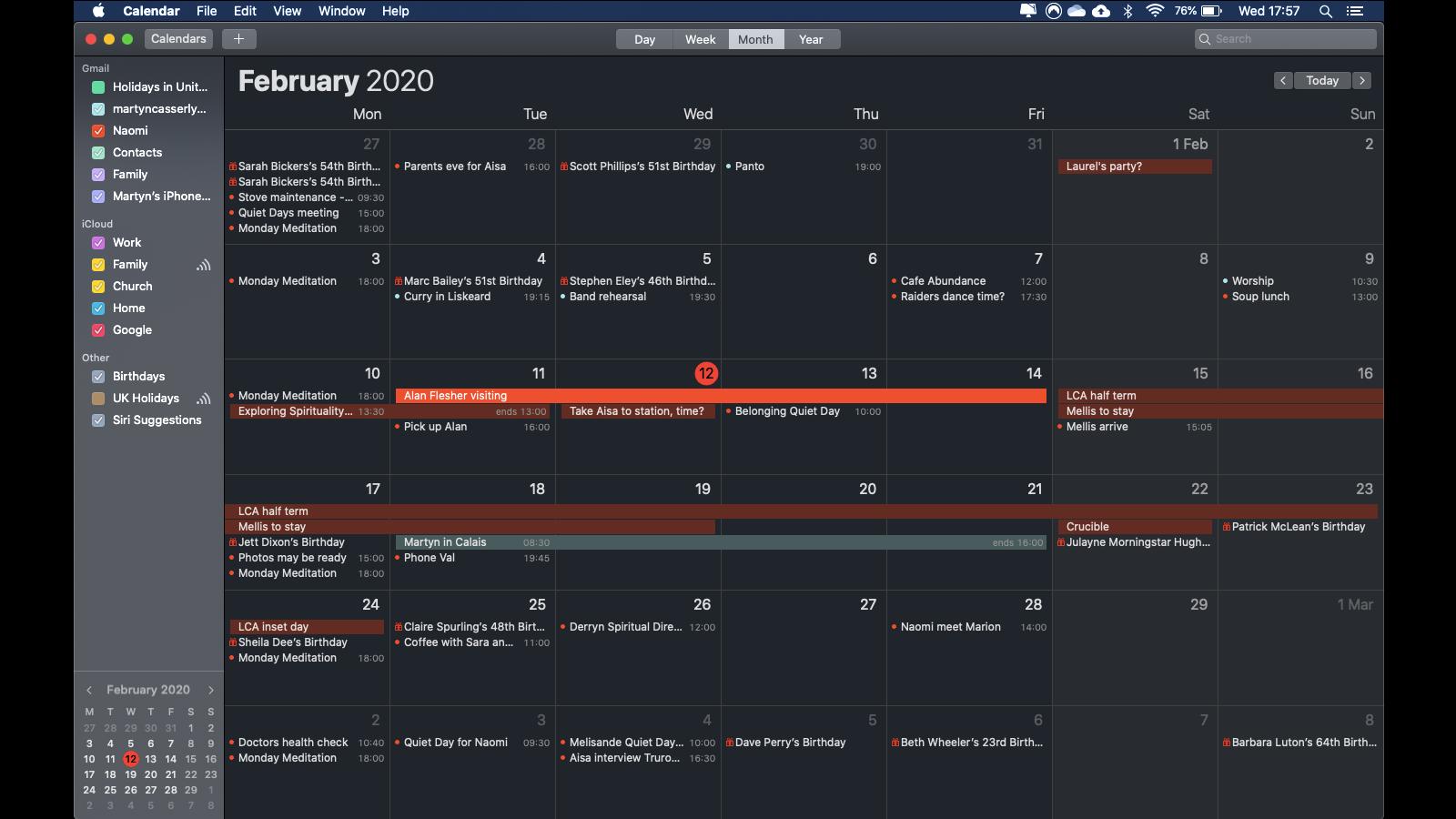 Cómo usar el modo oscuro en Mac: Calendario