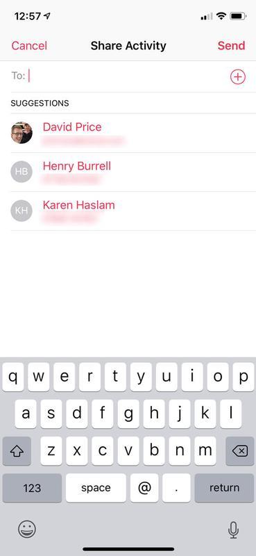 Cómo compartir datos de actividad de Apple Watch: Invitación