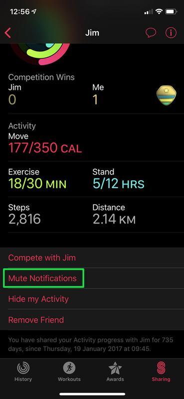 Cómo compartir datos de actividad de Apple Watch: Silenciar notificaciones