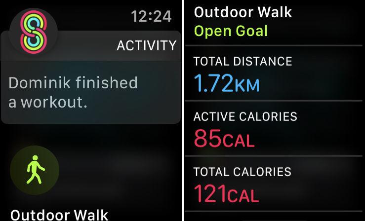 Cómo compartir datos de actividad de Apple Watch: notificación de entrenamiento