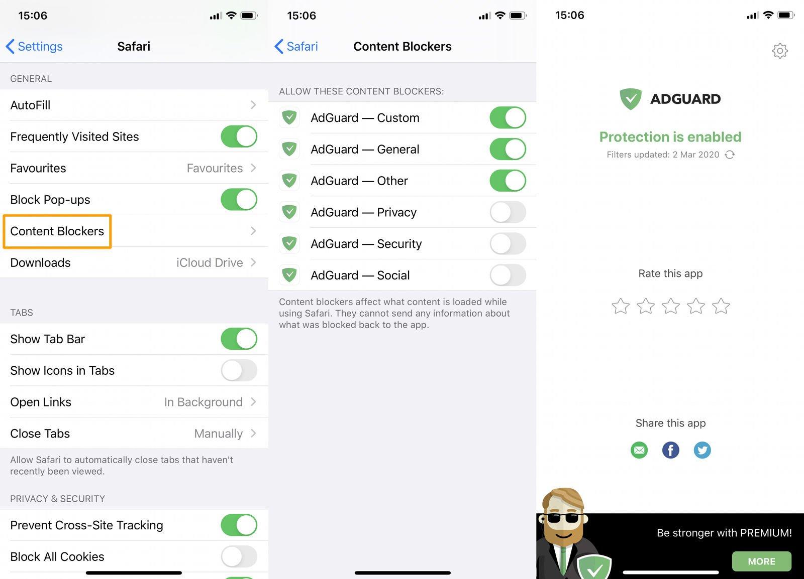 Cómo bloquear anuncios en iPhone y iPad: permisos de AdGuard
