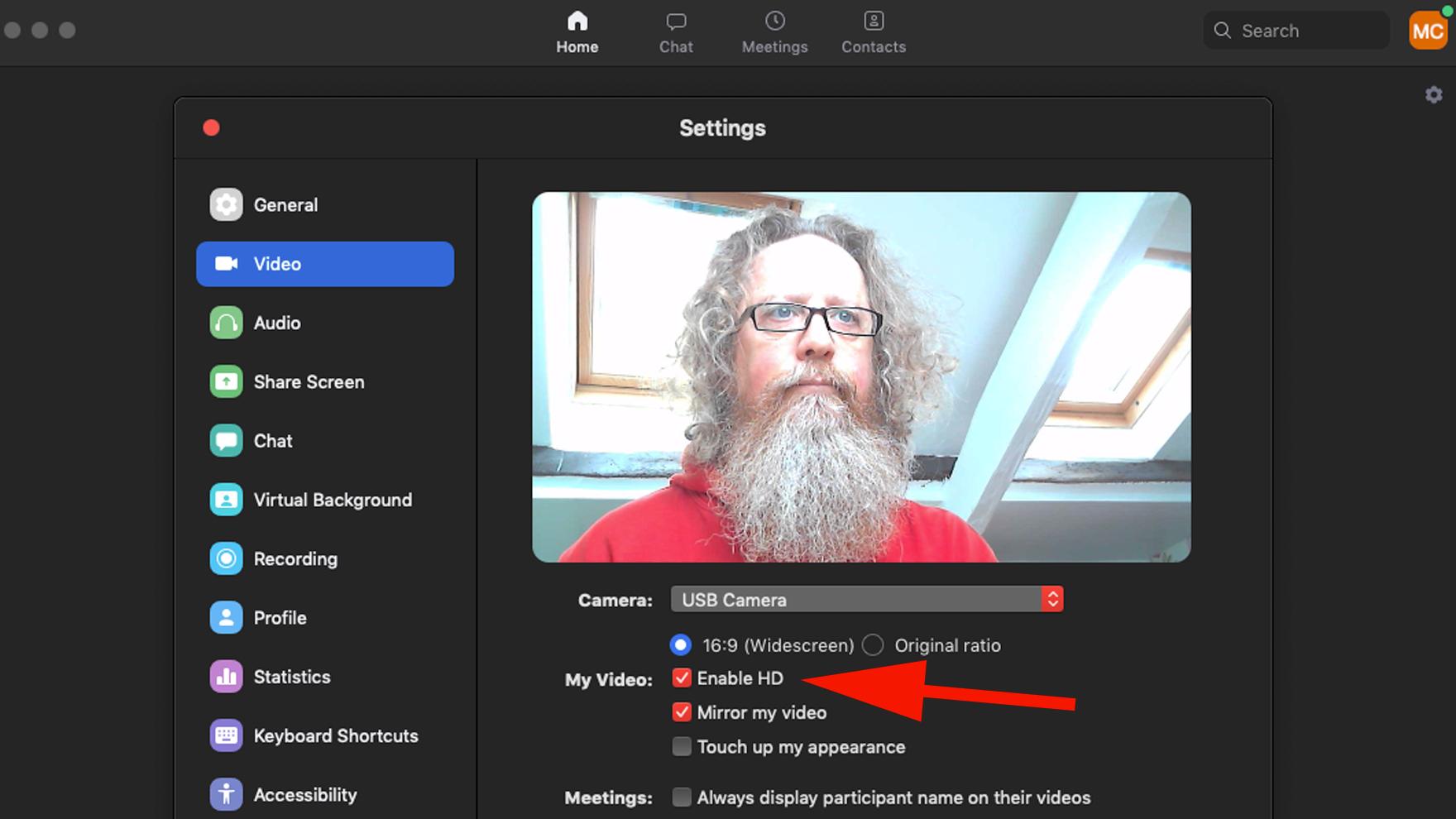 Cómo mejorar la calidad del video en Mac: Configuración de video en Zoom