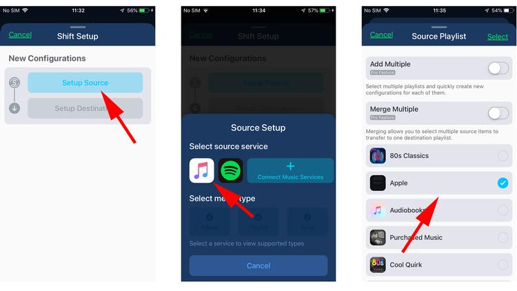 Cómo mover listas de reproducción de Apple Music a Spotify: configurar fuente