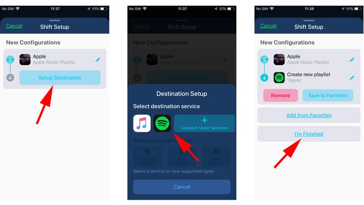 Cómo mover listas de reproducción de Apple Music a Spotify: destino