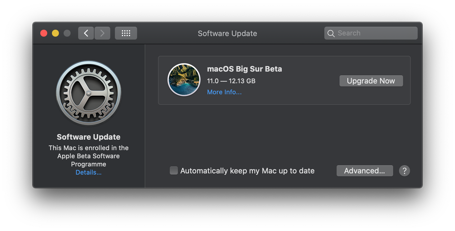 Actualizar beta macOS Big Sur