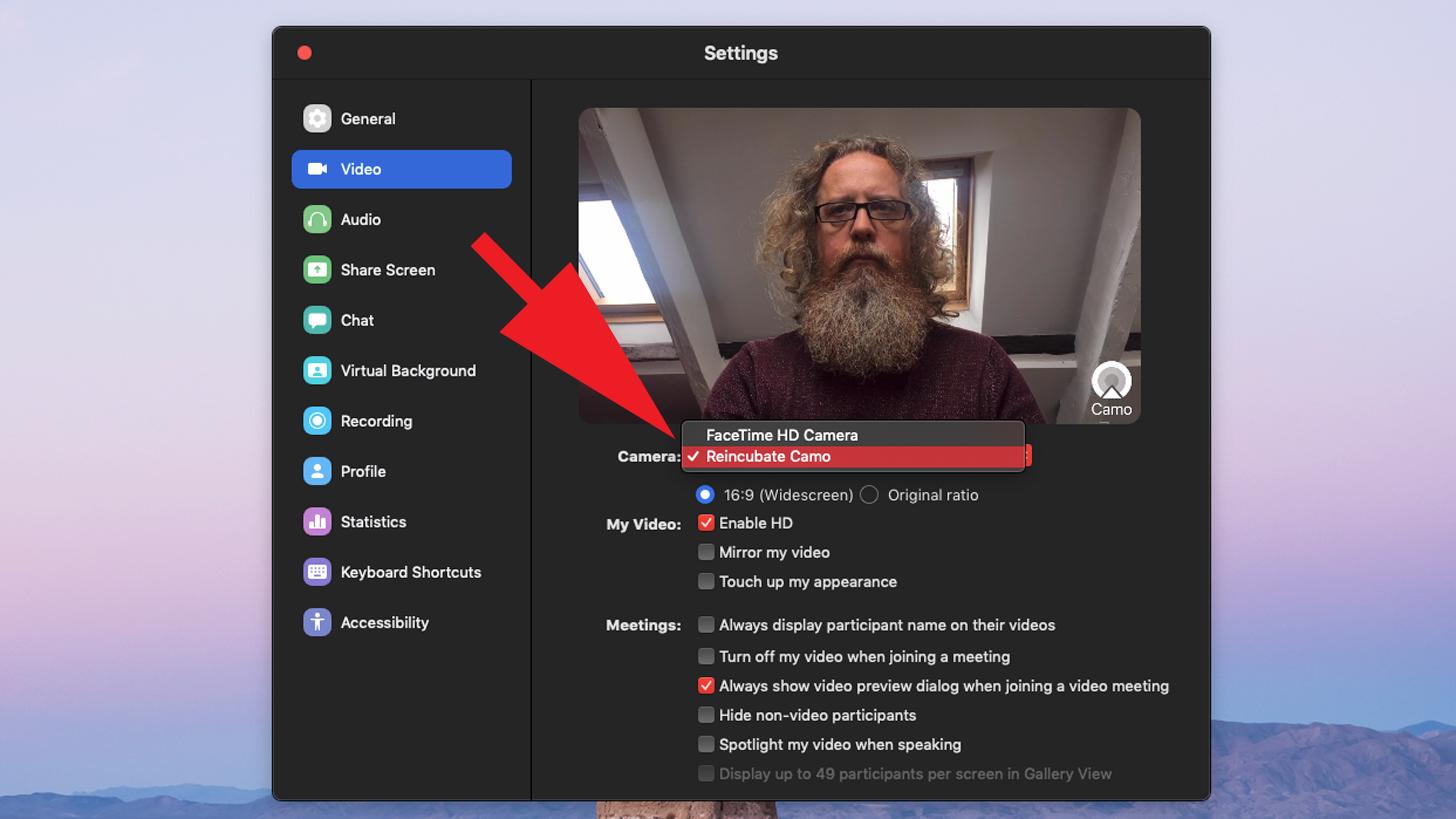 Cómo usar un iPhone como cámara web Mac: interfaz Zoom