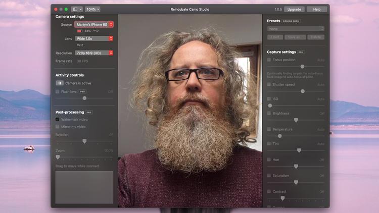 Cómo usar un iPhone como cámara web Mac: Interfaz Camo
