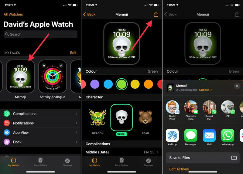 Cómo compartir caras de Apple Watch en watchOS 7: opciones para compartir de iPhone