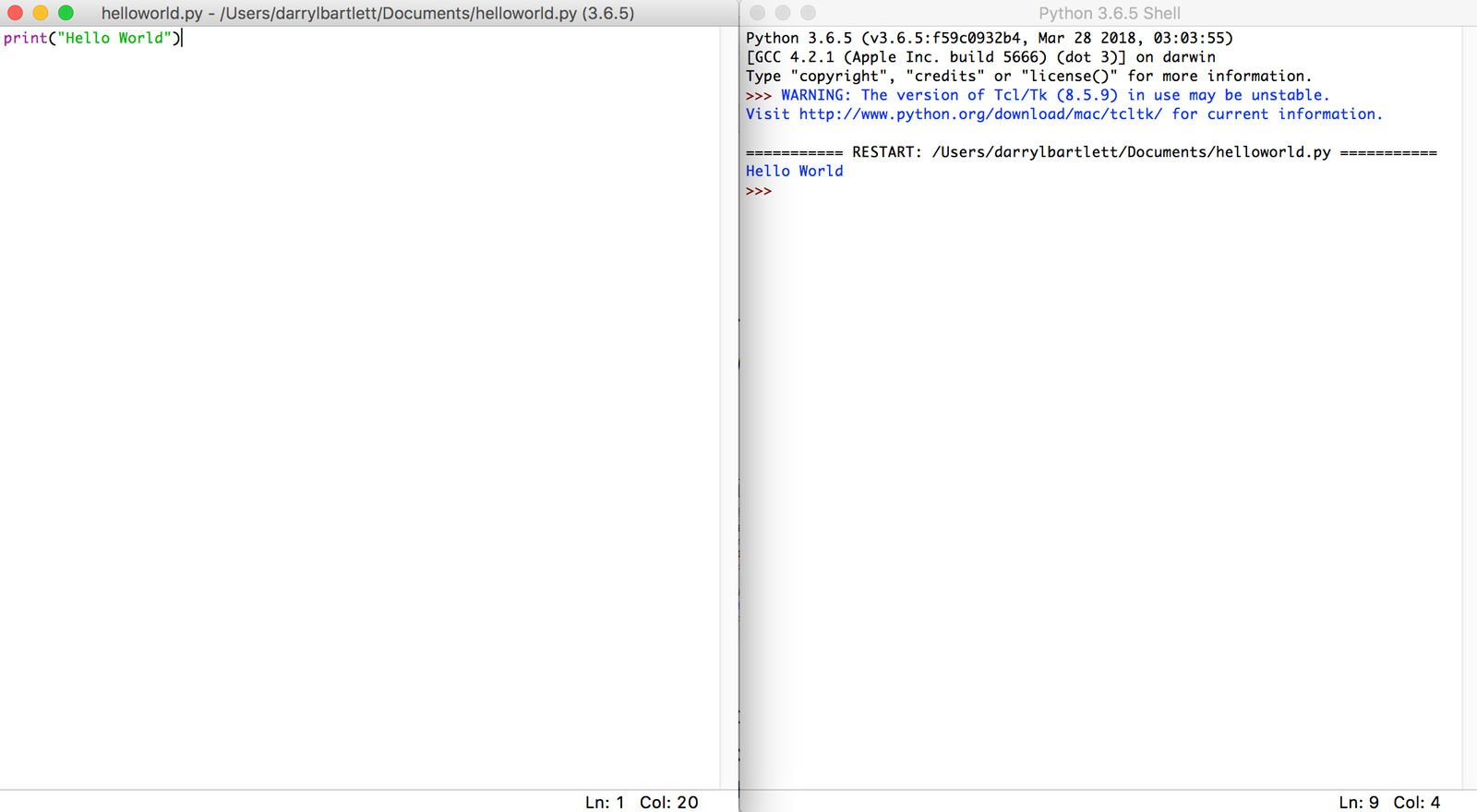 Cómo usar la codificación Python en Mac: Hello World