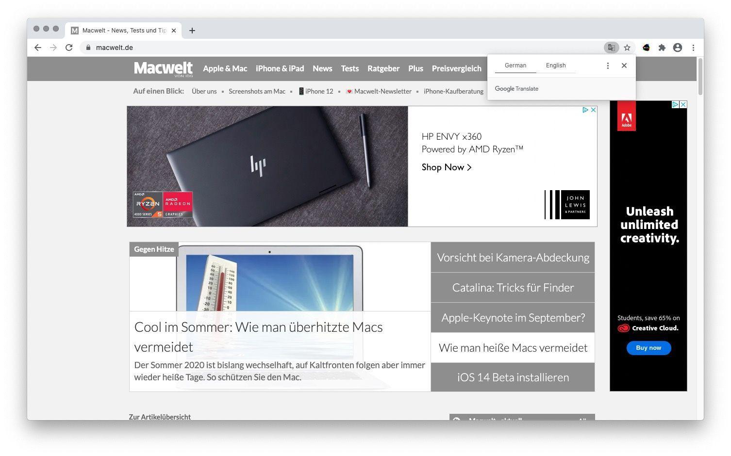 Traducir Chrome en Mac