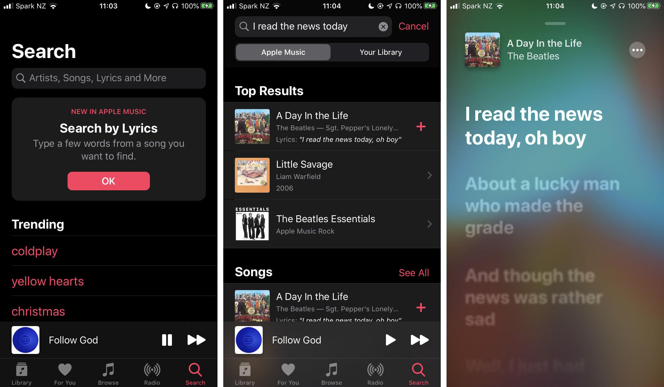 Buscar usando letras en Apple Music