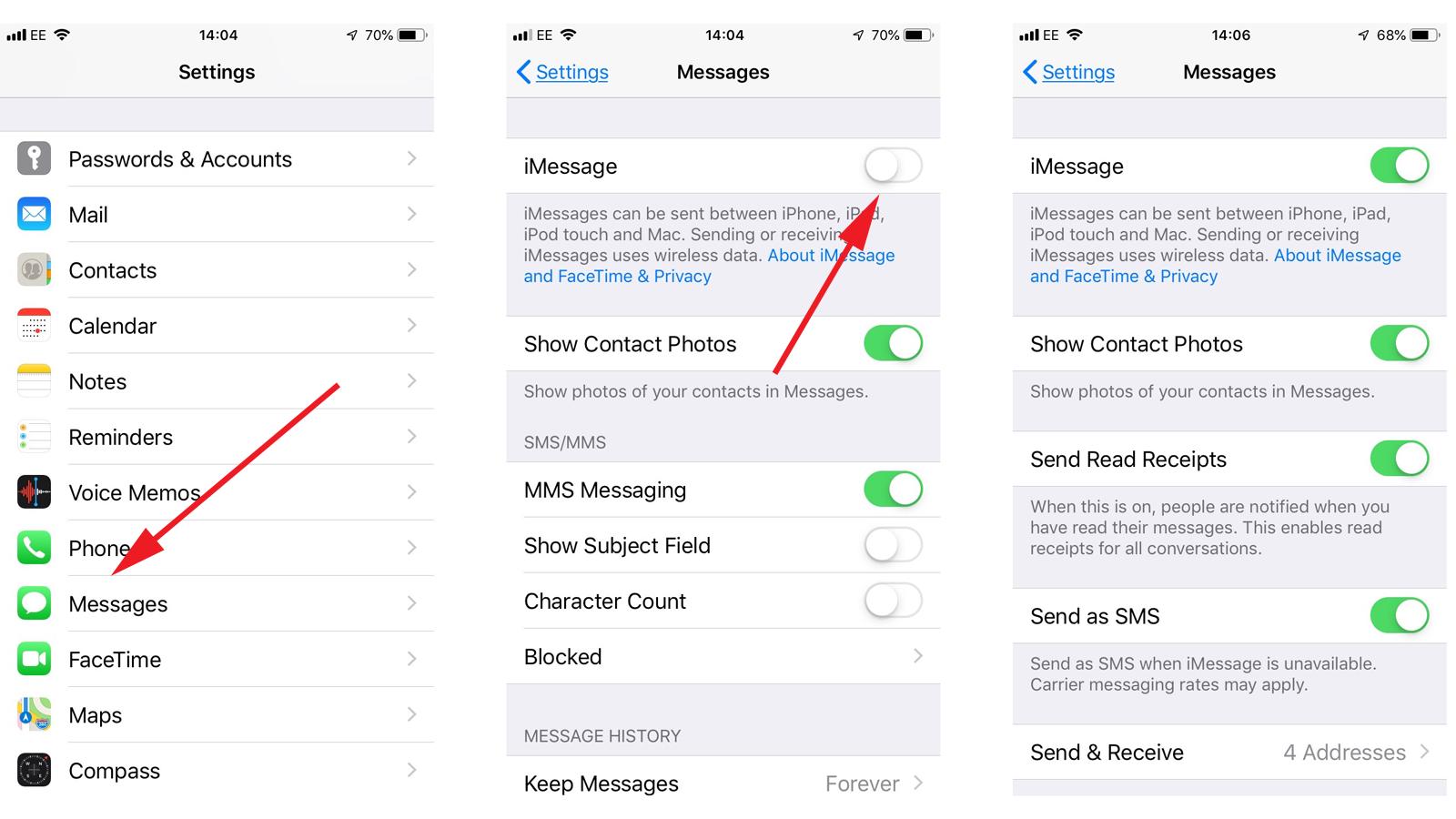 Cómo habilitar iMessage en iPhone: Configuración