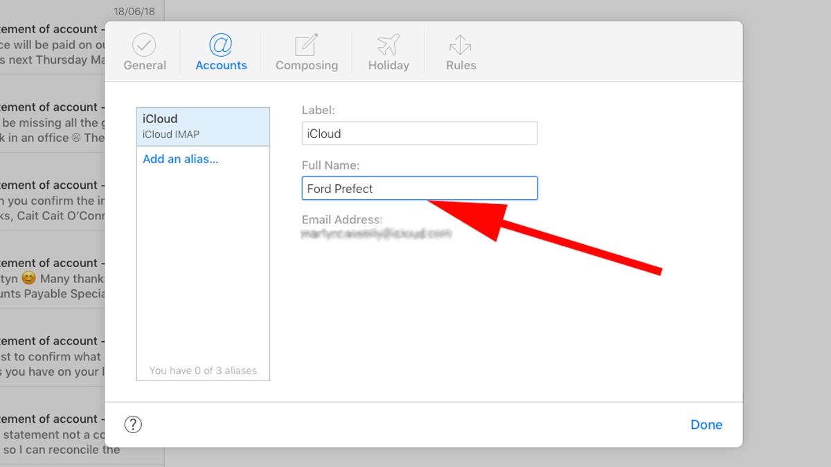 Cómo cambiar el nombre del remitente del correo electrónico en Apple Mail: iCloud