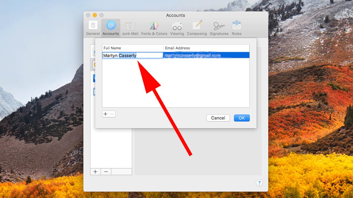 Cómo cambiar el nombre del remitente del correo electrónico en Apple Mail: Gmail