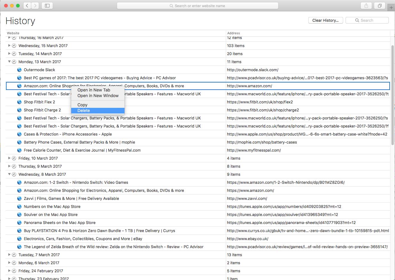 Cómo eliminar el historial de navegación web en Mac: sitios individuales en Safari