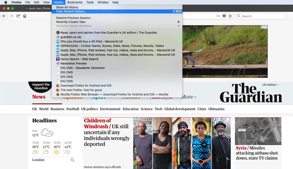 Cómo eliminar el historial de navegación web en Mac: Firefox