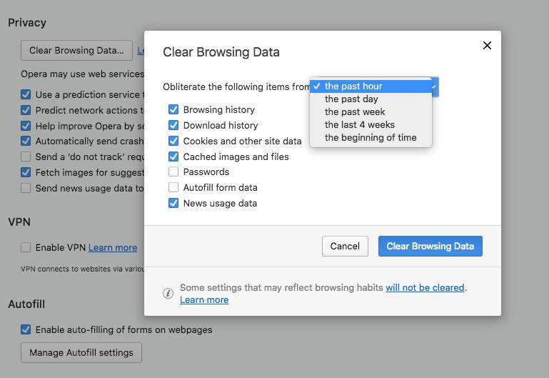 Cómo eliminar el historial de navegación web en Mac: Opera