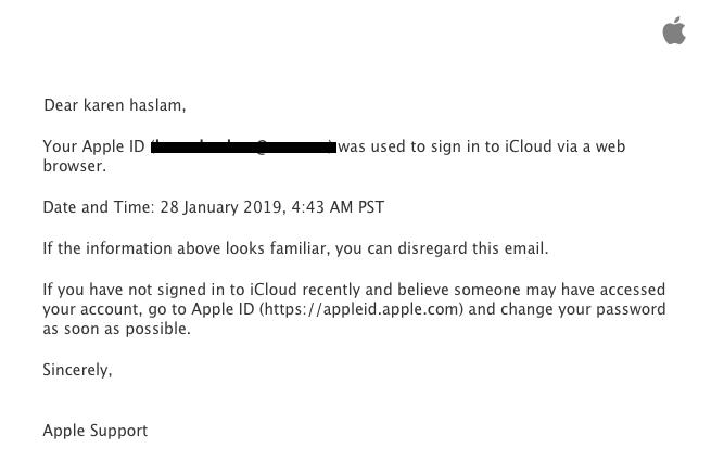 Alerta por correo electrónico Iniciar sesión con ID de Apple