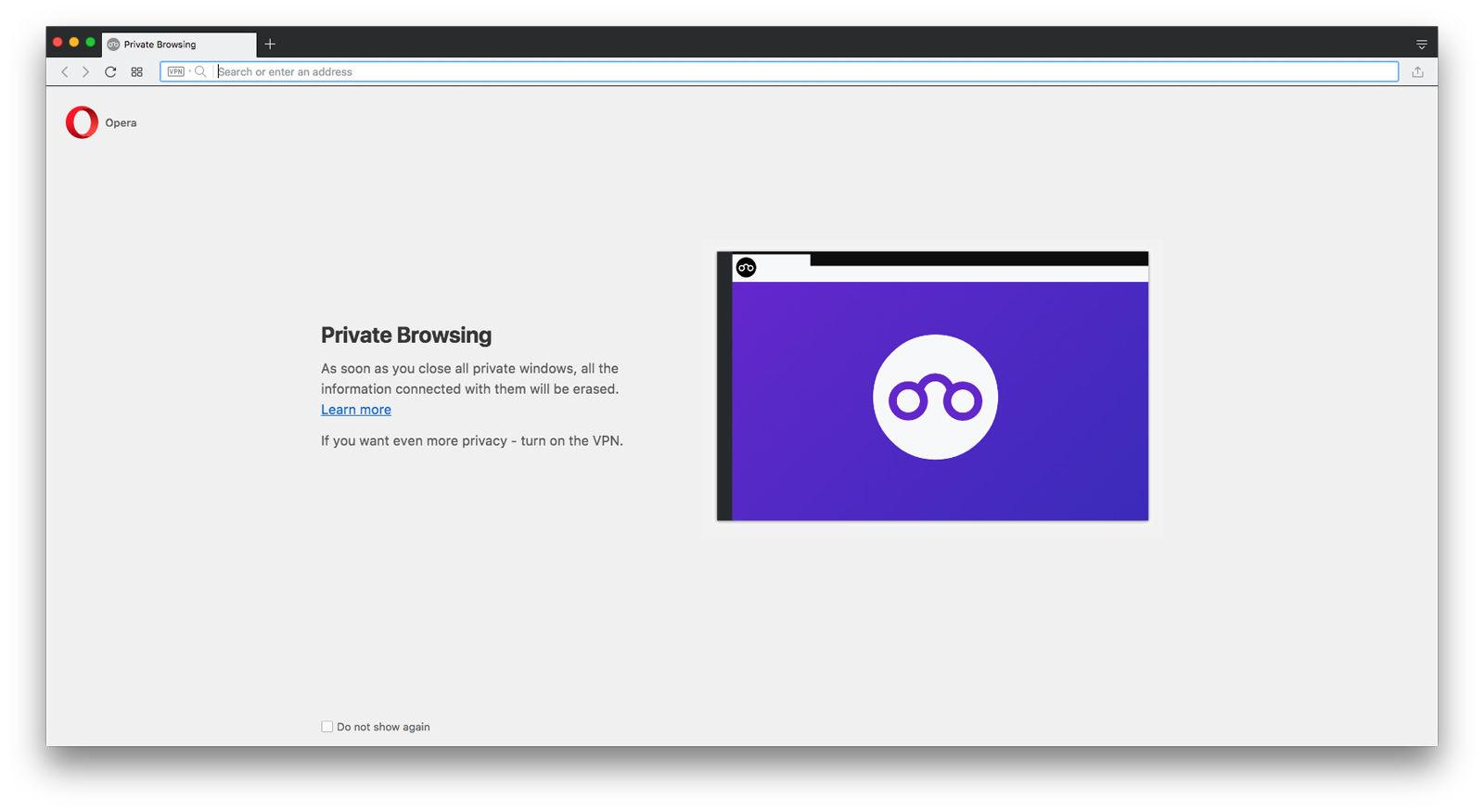 Cómo usar la navegación privada en Mac: Opera