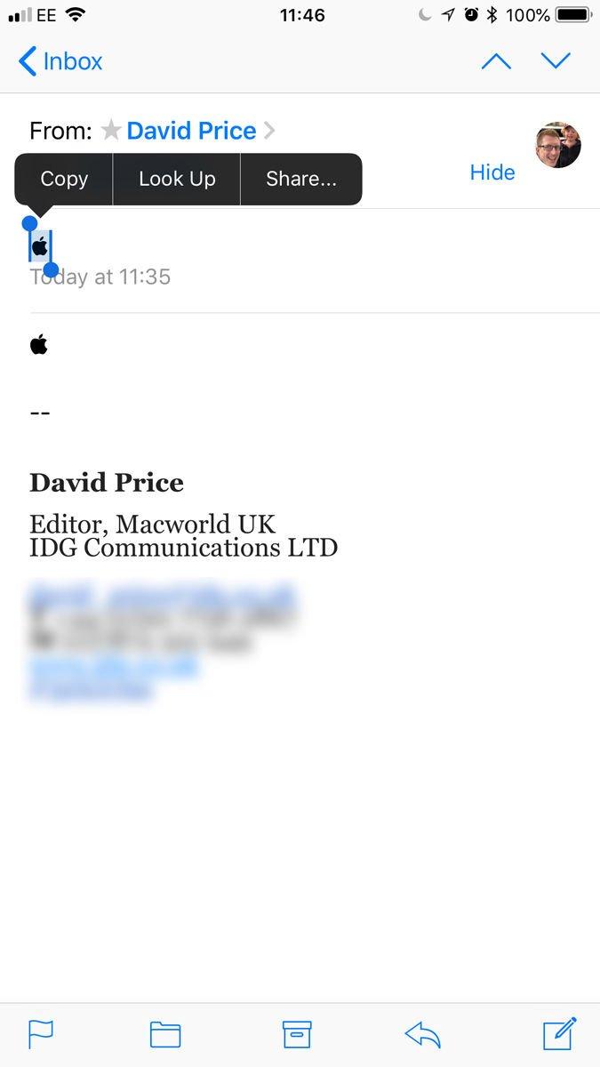 Cómo escribir el logotipo de Apple en iPhone o iPad: Copiar