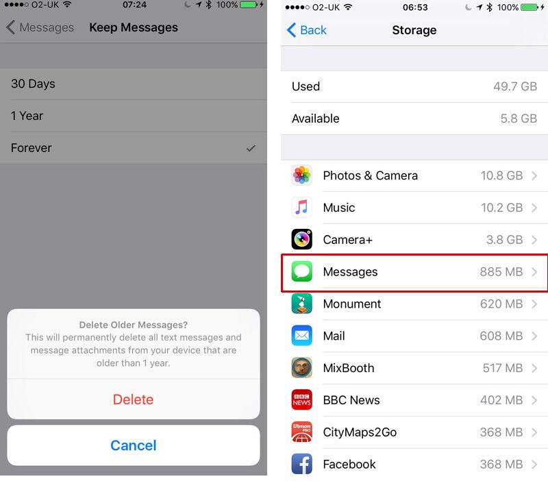 Cómo eliminar todos los mensajes antiguos del iPhone: almacenamiento