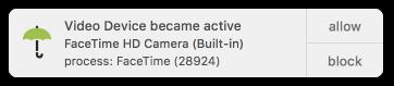 Acceso a la cámara OverSight iSight