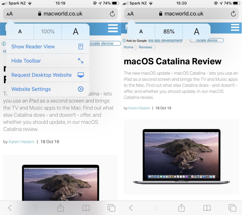 Cómo cambiar el tamaño del texto en Safari en iPhone: sitios individuales