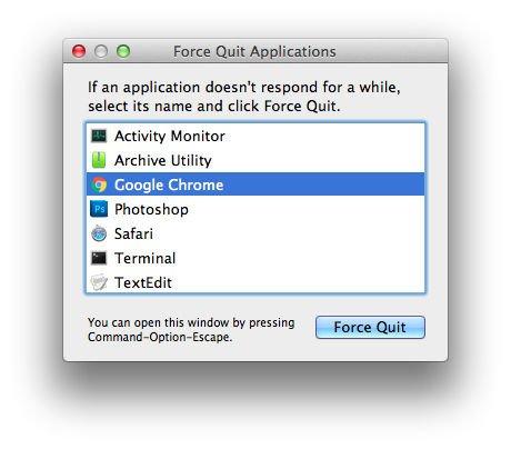 Cómo ver todas las aplicaciones abiertas en una Mac: menú Forzar salida