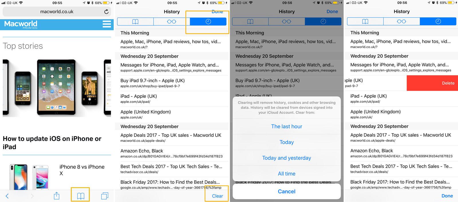 Cómo eliminar el historial de navegación de Internet en iPhone y iPad: iOS 11