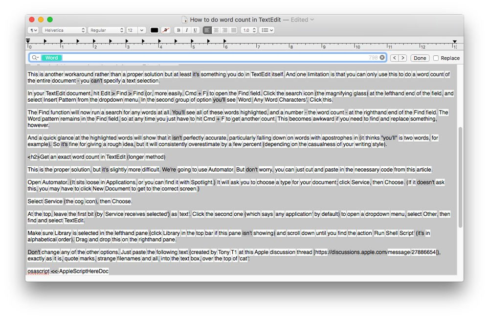 Cómo contar palabras en TextEdit en Mac: Buscar