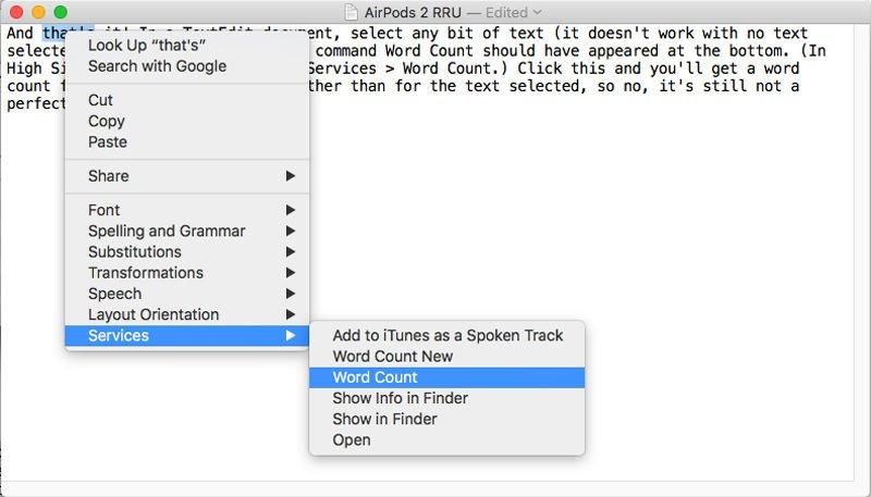 Cómo hacer un recuento de palabras en TextEdit: menú High Sierra