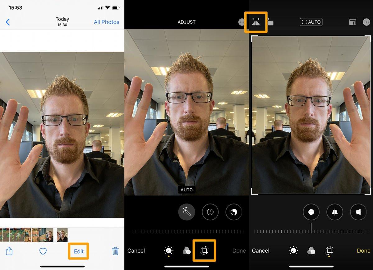 Cómo voltear una selfie de iPhone: editar en iOS 13