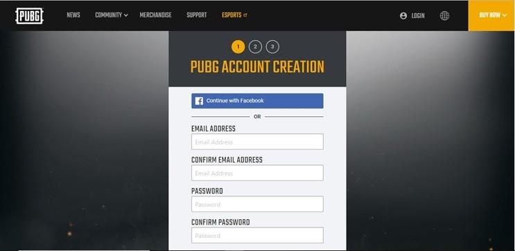 Creación de cuenta PUBG