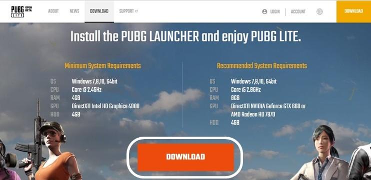 Página de descarga de PUBG