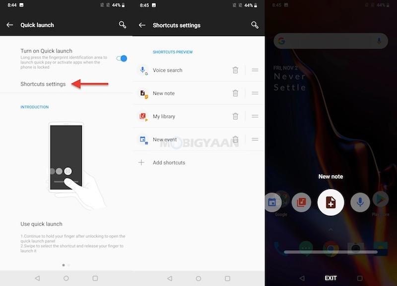 Escáner de huellas dactilares de inicio rápido OnePlus