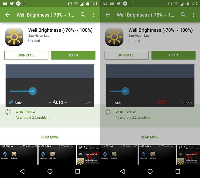 Cómo reducir el brillo por debajo de 0 en Android 4